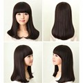 2015 Brand New Womens Magnetic Black Wavy Fluffy Wig Synthetic Fiber Medium Length Hair With Neat Bangs Female Styling Full Wig