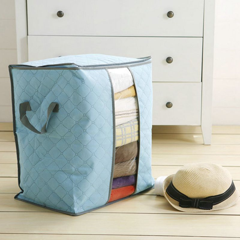 Portable Clothes Storage Bag Organizer Non woven Folding Closet Organizer Clothing Pillow Quilt Blanket Bedding Toys Organizer-in Storage Bags from Home & Garden