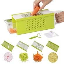 4-стороннее овощерезка с контейнером Нержавеющаясталь устройство резки овощей Картофельная Терка нож для резки моркови, огурца, Ломтерезка для KC1030