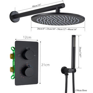 Image 4 - Thermostatic Shower Faucet Matte Black Ceiling Mounted Bathroom Rainfall Shower Column Dual Handle Concealed Shower Mixer Tap
