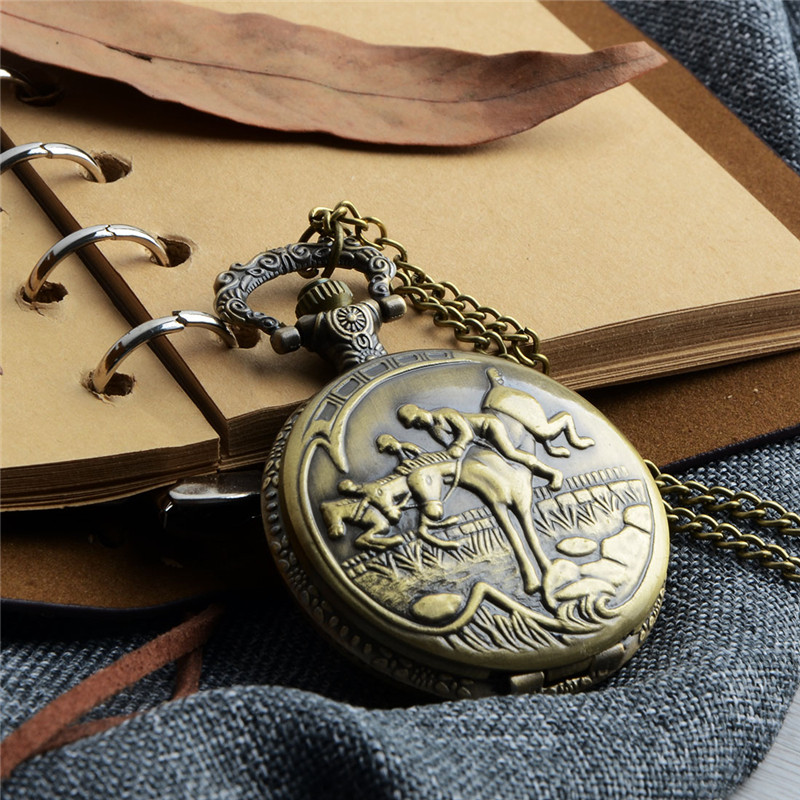 Retro Bronze Pocket Watch Antique Riding Horse Steampunk Quartz Watch Men Women Vintage Necklace Pendant Clock reloj de bolsillo vintage antique carving motorcycle steampunk quartz pocket watch retro bronze women men necklace pendant clock with chain toy