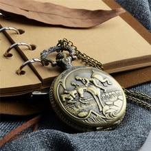 Retro Bronze Pocket Watch Antique Riding Horse Steampunk Quartz Watch Men Women Vintage Necklace Pendant Clock reloj de bolsillo