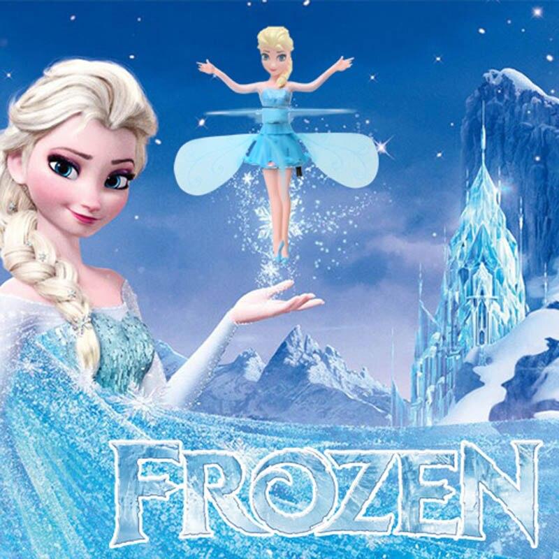 Congelado princesa elsa fada mágica voando suspendido avião controle voando bonecas brinquedos