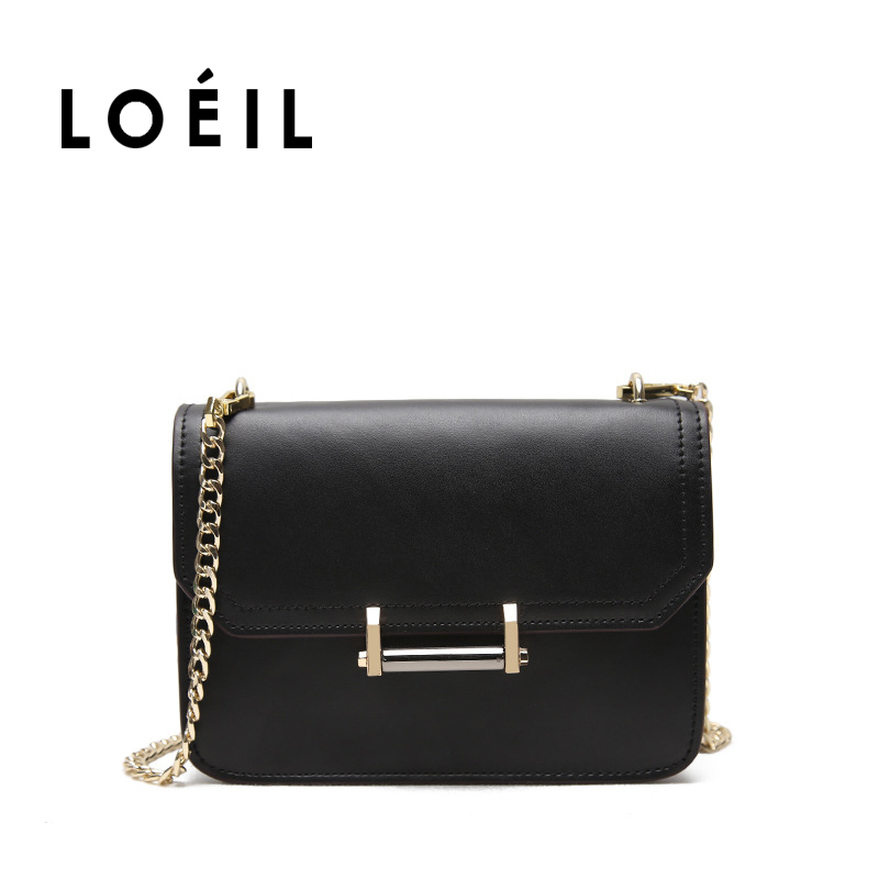 LOEIL 2018 new leather female bag women's shoulder diagonal bag fashion wild chain small square bag bag female 2018 new fashion sequins convenient bread bag chain small square bag shoulder slung dinner bag