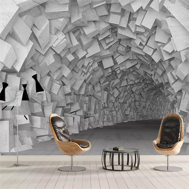 Modern Abstract Art Murals Wallpaper 3D Stereo Geometry Building Photo Wall Paper For Living Room Bedroom Creative Home Decor 3D