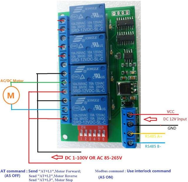 Online Shop 4 Channel DC 12V RS485 Relay Module Modbus RTU  AT