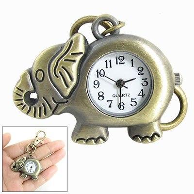 YCYS Practical Superior Bronze Tone Elephant Pendant Lobster Hook Keyring Watch