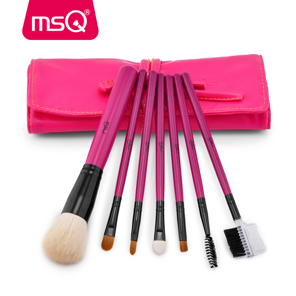 MSQ Makeup Brushes Set Pro 7pcs High Quality Goat&Synthetic Hair Make Up Kit Cosmetics Tool With PU Leather Case Foundation msq 15pcs 1 set pro makeup brushes makeup brush kit fiber goat hair with pu leather case makeup beauty tool