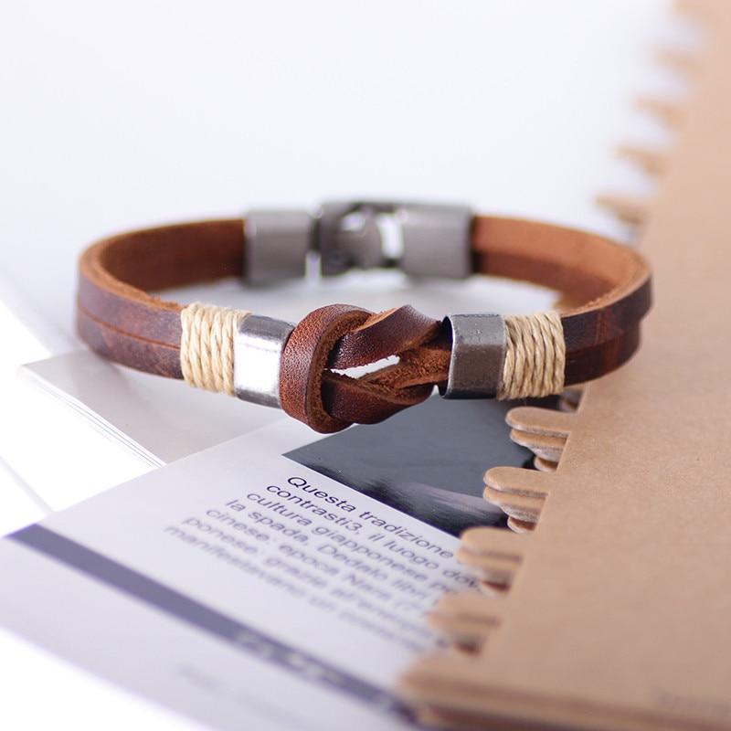 ZORCVENS Retro Men Genuine Leather Bracelet Men Jewelry Accessories Male Leather Charm Bracelet