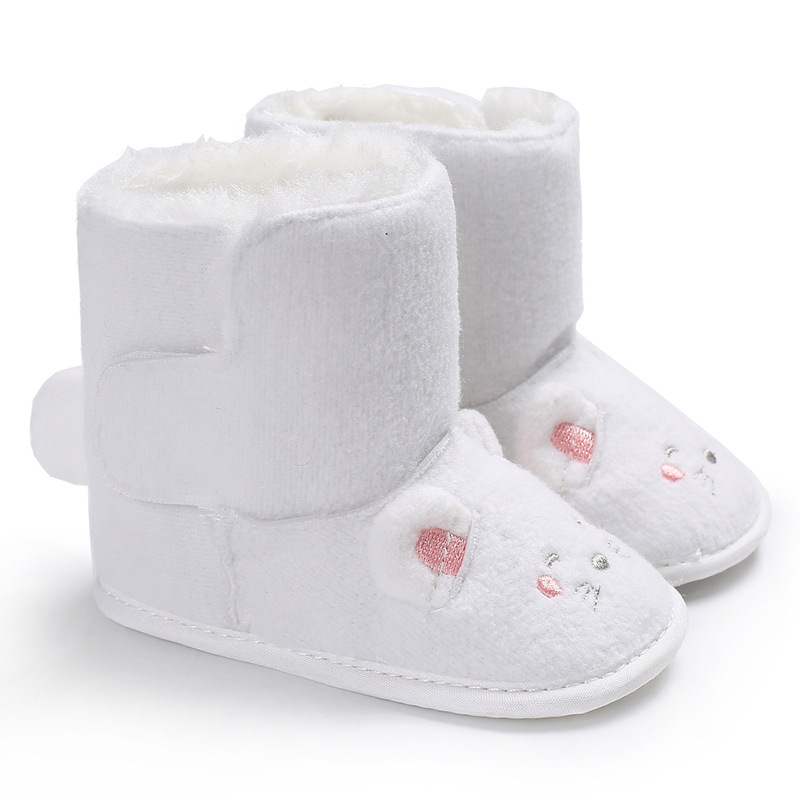 Raise Young Winter Plus Velvet Thicken Warm Baby Boots Cartoon Soft Soles Newborn Baby Girl Shoes Toddler Boy Footwear 0-18M