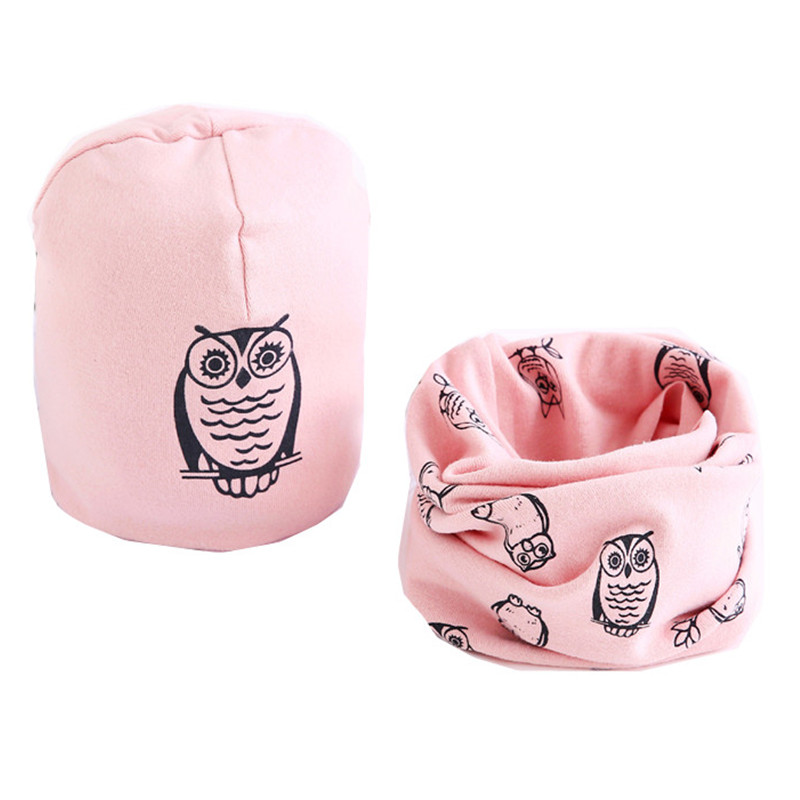 New Autumn Winter Baby Girls Hat Scarf Set Cartoon Owl Stars Baby Hat Spring Children Hat Scarf Collar Sets Cotton Baby Hats Set