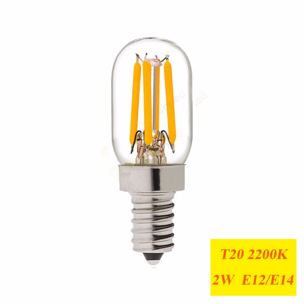 Led Birnen E14 Us 15 74 25 Off Retro Led Filament Beleuchtung Birne 1 W 2 W 2200 K E12 E14 Basis Edison Ampulle T20 Klar Glas 110 V 220vac Dimmbar In Retro