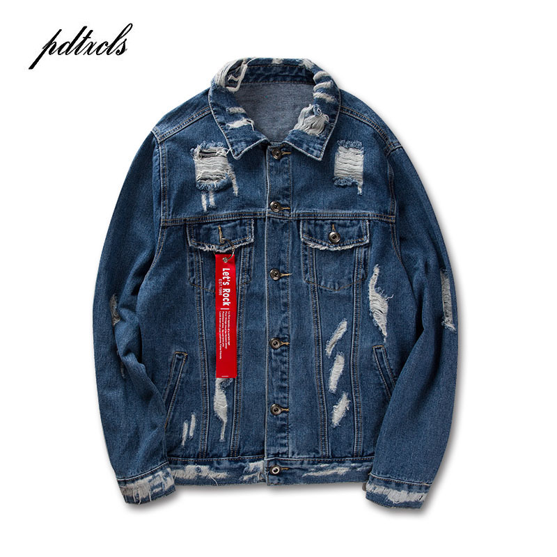 49HOT Ribbon Ripped Denim Jackets 2018 Mens Vinage Distressed Destroyed Jeans Jackets Hip Hop Casual Printed Hole Jackets Blue