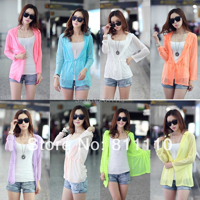 Trend Knitting Free shipping the top 2014 new summer Lightweight and comfortable Hooded cardigan Prevent bask in coat women