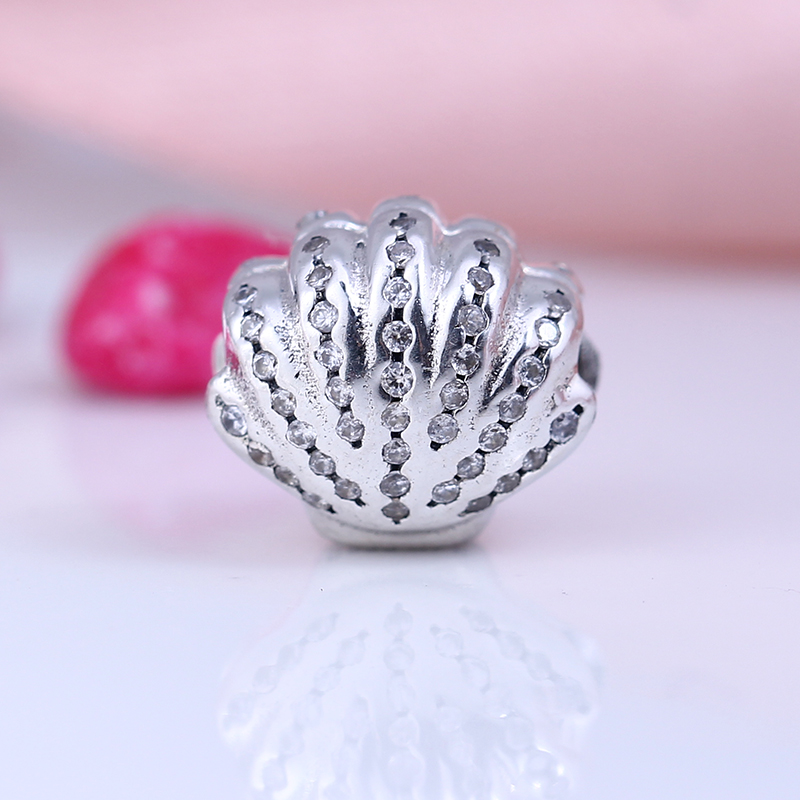 Authentic 100% 925 Sterling Silver Fit Original Pandora Bracelet Cute Shell Clear CZ Charm Beads for Jewelry Making