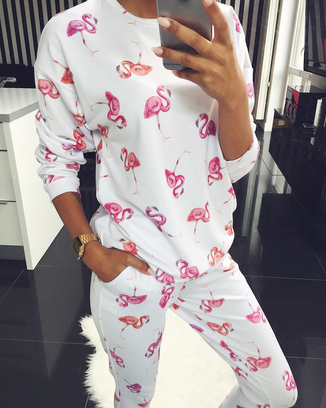 Casual Flamingo Print Female 2 Pcs Long Sleeve Women Sweatshirts Top And Jogger Pants Suit Female Outfit Streetwear