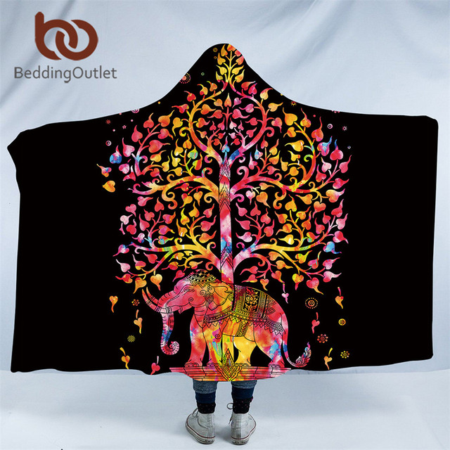 BeddingOutlet Colorful Bohemian Hooded Blanket Indian Elephant Cool Colorful Throw Blankets