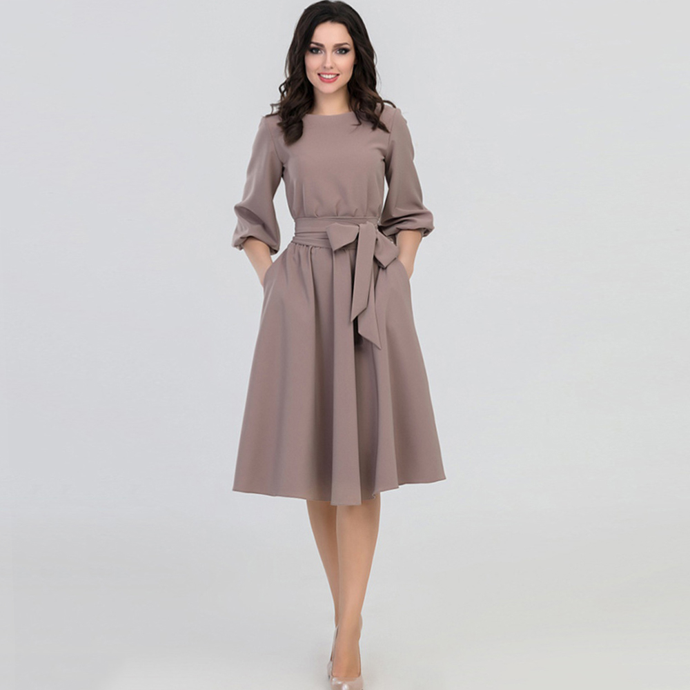 Young17 Women Spring Fall Vintage Long Dress Khaki Party Pleated Elegant Belt Retro Ladies Office Dresses Vestido 2019 Spring