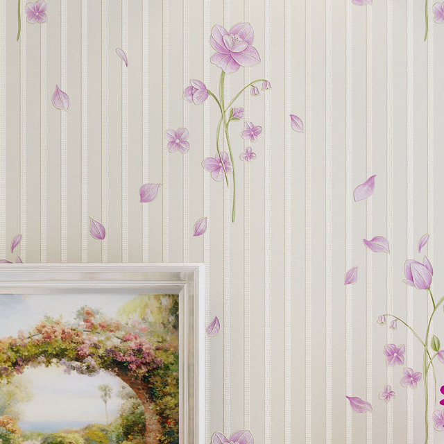 Pink Floral Wallpaper For Walls Purple Wallpapers For Bedroom Wall Paper Stripes For Wedding Decoration Non