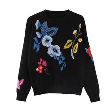 high quality 2016 new women's high quality wool embroidery flower sweater fashion knitted black thick pullover jumper sweater