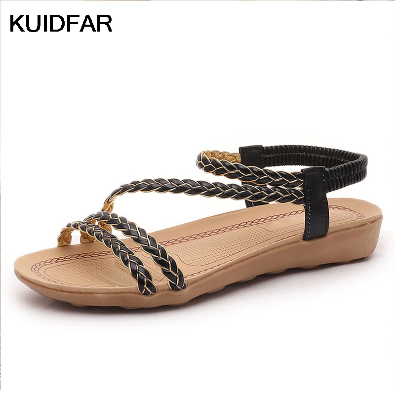 Summer Shoes Woman Gladiator Sandals Women Beach Flat Casual Shoes Black White gladiator sandals 2017 summer style comfort flats casual creepers platform pu shoes woman casual beach black sandals plus us 8