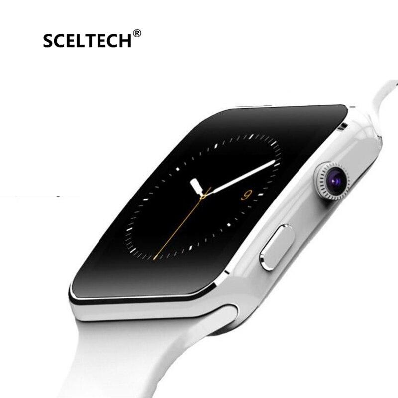 SCELTECH inteligente reloj Bluetooth X6 deporte pasómetro inteligente con cámara tarjeta SIM Whatsapp Facebook para Android Teléfono
