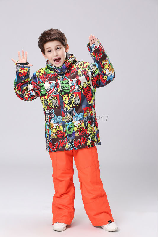 2016 childrens cartoon ski suit boys snowboarding suit kids skiing jackets pants girls skiwear anorak snow suit snow wear