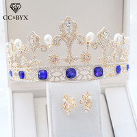 CC wedding jewelry crown tiara hairbands stud earrings baroque vintage blue pearl engagement hair accessories for bridal xy384