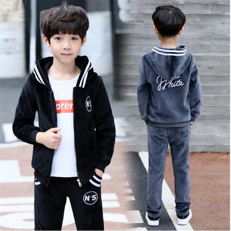 Boy spring and autumn sportswear Sets 2018 new 89 boys 12 gold velvet big children 10 two sets of 15 years old Selected comfort недорго, оригинальная цена