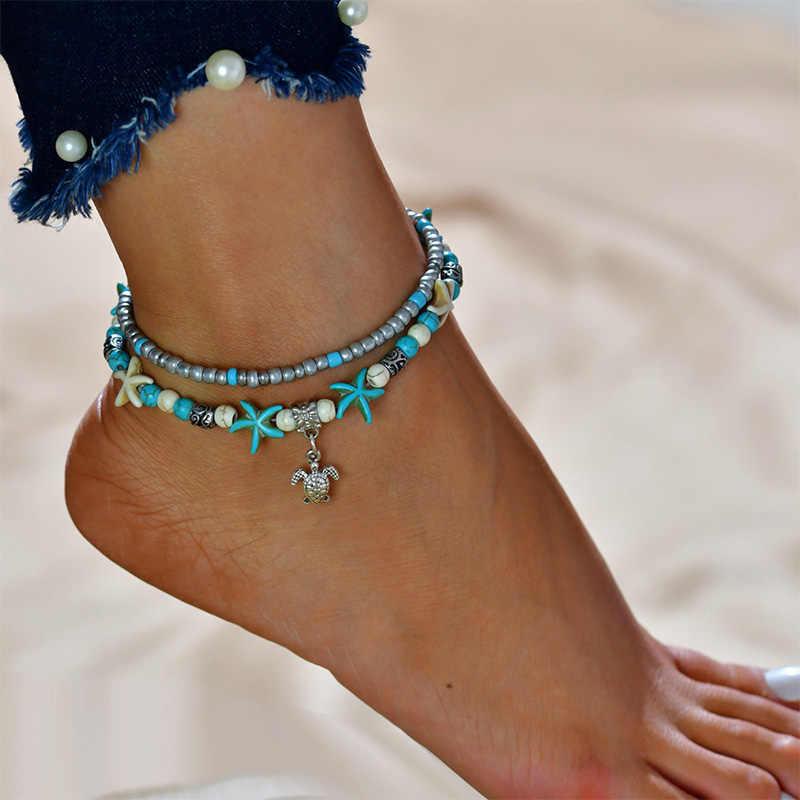 Boho винтажный одиночный/многоярусный ножной браслет слон Черепаха раковины жемчужный корпус кулон Регулируемый ножной браслет пляжные украшения