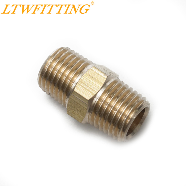 LTWFITTING Brass Pipe Hex Nipple Fitting 1/4