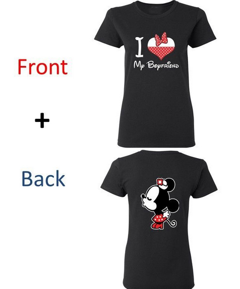 f6b200bba5 Couple Matching Shirt I Love My Boyfriend Girlfriend Kissing Cartoons T  shirts New Summer Top Design Tee Shirt 2 pcs in package-in T-Shirts from  Men's ...