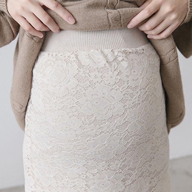 Модная одежда для беременных Кружева эластичная талия юбка живот беременных Для женщин Офисные женские туфли износ юбка элегантный юбка для беременных Q787