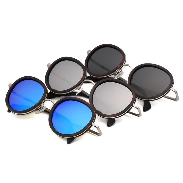Ebony Wood Round Sunglasses