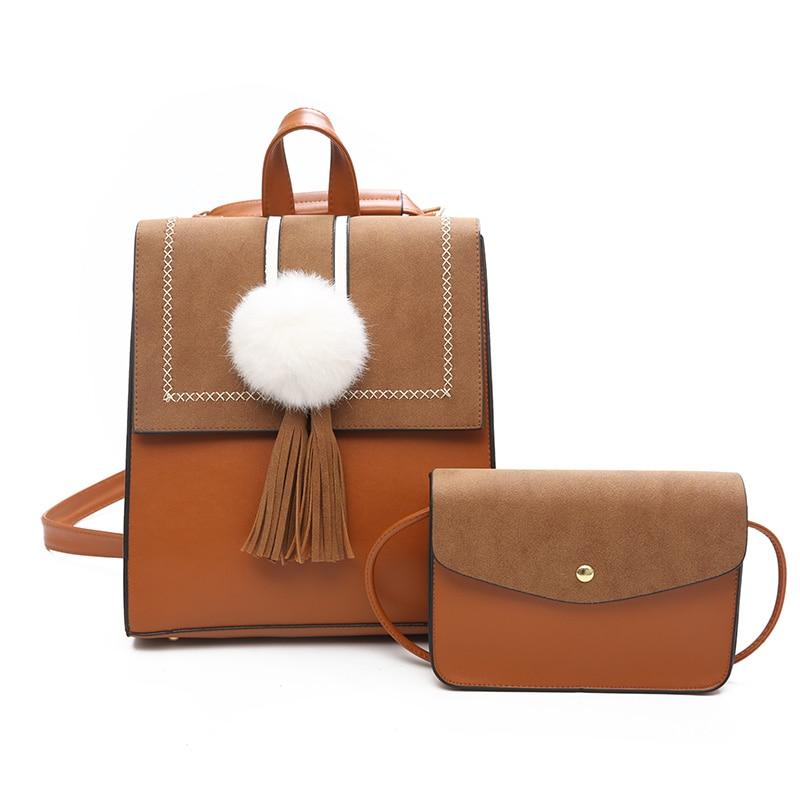 Women Leather 2pcs Set Backpack Tassel Fashion Girls School Backpacks New Designed Brand Cool Urban Backpack Lady Shoulder Bags kalidi 2pcs set backpack