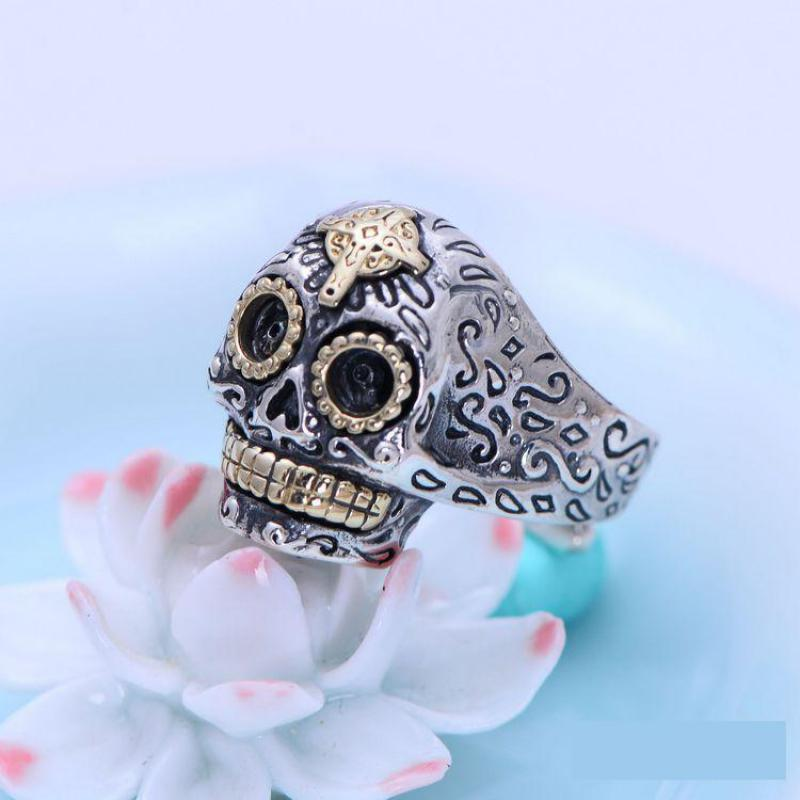 Real Solid 925 Sterling Silver Skull Ring Retro Flower Pattern Carved Opening Resizable Vintage Trendy Jewelry For Men and Women trendy graffiti pattern and tassels design satchel for women