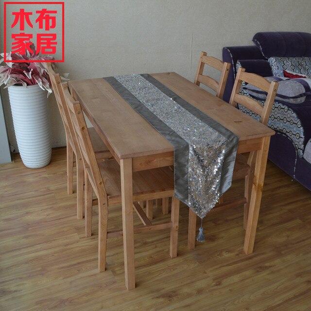 Ikea muebles de madera maciza de madera paño verde sillas de comedor ...
