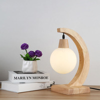 Simple wood glass table lamp Nordic art bedroom bedside lamps wooden ball lamp creative personality YA72622