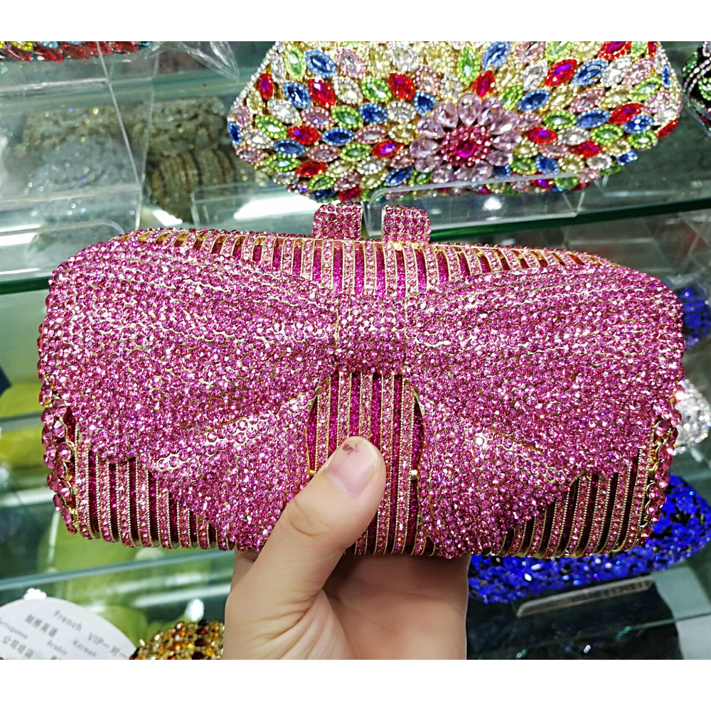 Luxury Pink bowknot Evening Clutch Bag Plum blossom Pattern Blue Crystal  Diamond Evening Bag Wedding Purse soiree pochette sc554-in Top-Handle Bags  from ... 9d35486d7f3d