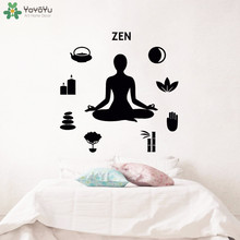 YOYOYU Wall Decal Quote Zen Yoga Studio Meditation Sticker Lotus Pose Buddha Removable Relax Home Decor Interior Art  CT725