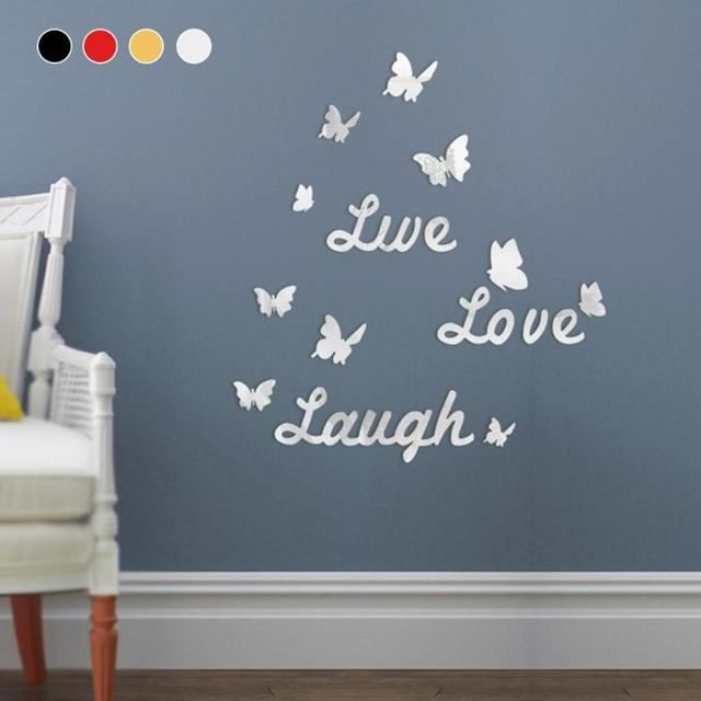 New Live Love Laugh Butterfly Stick Foreign Trade English Letters Wall Decorative Mirror Stickers Wallpaper Home