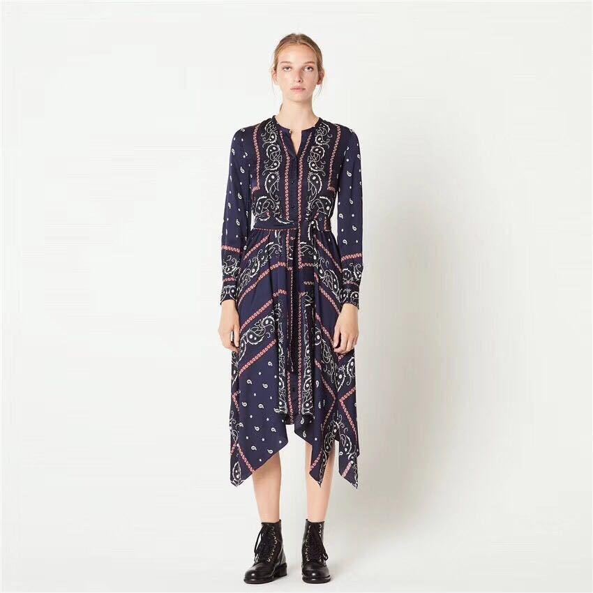 Women Dress 2019 Autumn and Winter Slim Print Irregular Waist Round Neck Lace Dress
