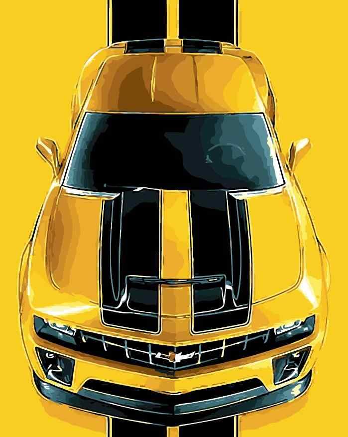 Araba Chevrolet Camaro En Resim Sergisi Sayilar El Boya Boyama