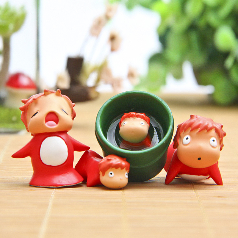 4pcs/set Hayao Miyazaki Ponyo On The Cliff Action Figures Toy Ponyo Figure Gardening Accessories Classic Collection Toy 2-3cm