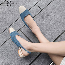 Real Cow Leather Chunky Heels Classic Pumps Square Toe Metal Decoration Slingback Women Office Lady Summer Shoes Woman