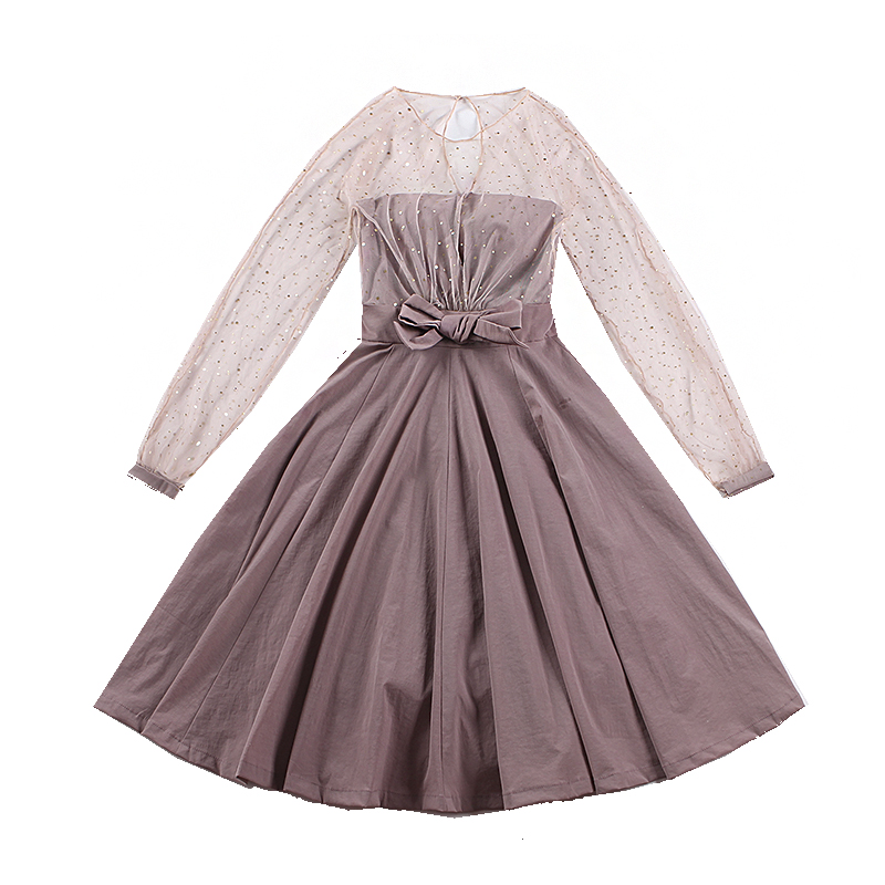 le palais vintage Patchwork Ball Gown Dress Dazzle Mesh Twill Blend Bow Decor Lantern Sleeve Dress with Chest Pad 2019 Spring