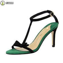 купить Luxury Fashion T-Tied Green Black Thin Heels Women Summer Sandals Elegant Sweet Ladies Pumps Shoes Open Toe Ankle Strap Peep по цене 1547.61 рублей