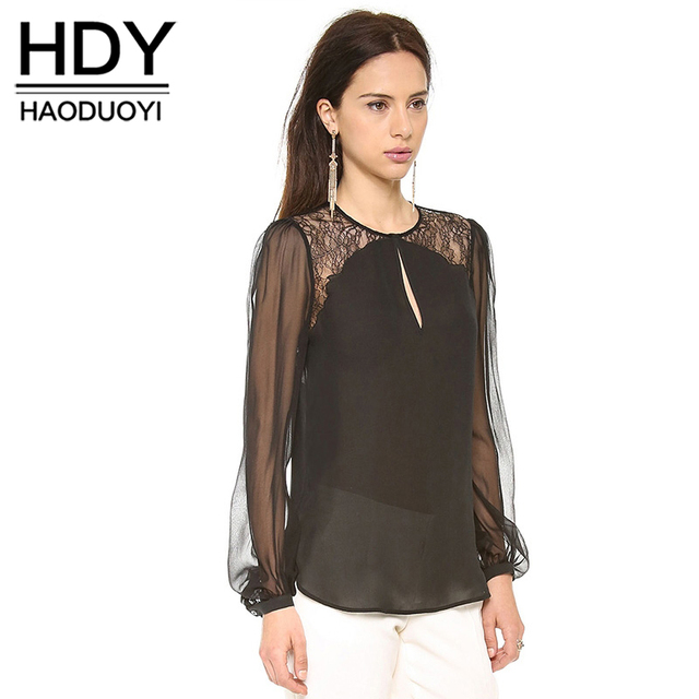9169cc7abe HDY Haoduoyi Fashion Solid Color Women Shirts Long Sleeve O-Neck Lace  Contrast Blouses Women
