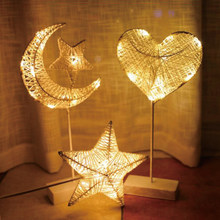 Star Heart Shape Grass Rattan Woven LED Night Light Battery Power Girls Bedroom Decorative Table Lamp deco noel lamparas de mesa(China)