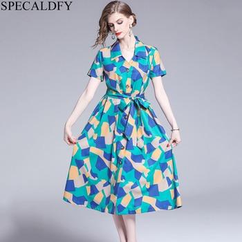Летнее платье больших размеров, женское платье с коротким рукавом и принтом, однобортное Повседневное платье-рубашка 2019, высокое качество, ...